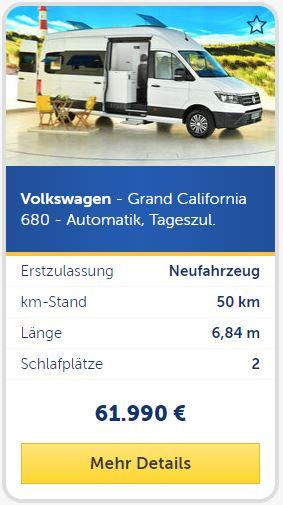 Volkswagen - Grand California 680 - Automatik, Tageszul.