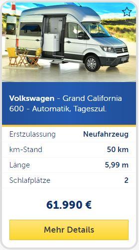Volkswagen - Grand California 600 - Automatik, Tageszu.