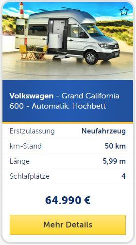Volkswagen - Grand California 600 - Automatik, Hochbett, 4 Schlafplätze